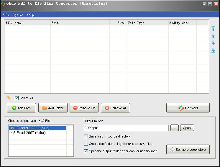 Okdo Pdf to Xls Xlsx Converter 软件界面预览_