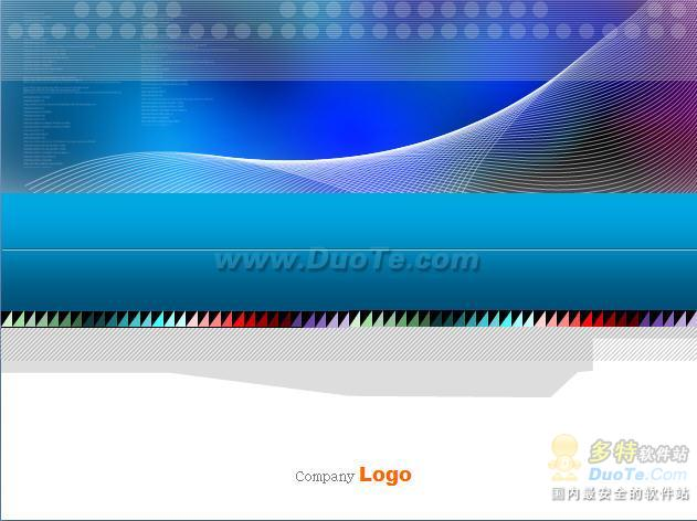 蓝色波纹线ppt模板 软件界面预览