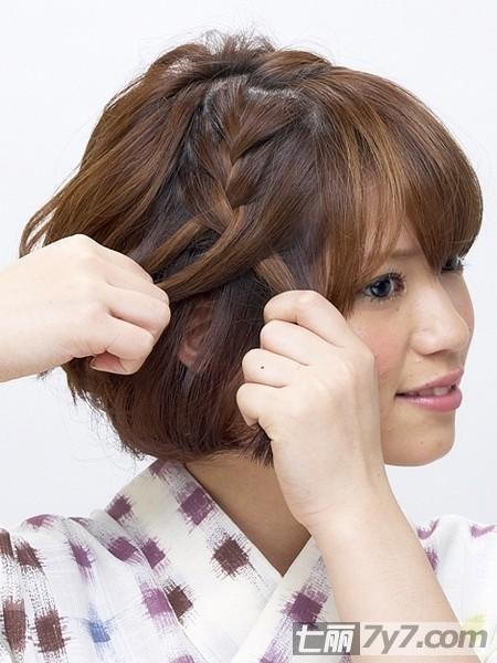 短发怎么扎头发简单好看 三款日本和服发型图图片