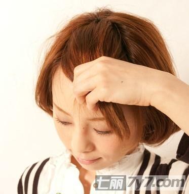 可爱短发刘海编发发型