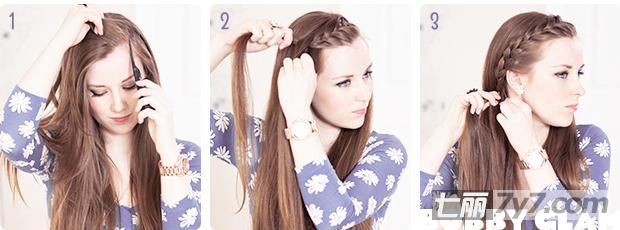 简单刘海编发扎发 可爱长发发型设计