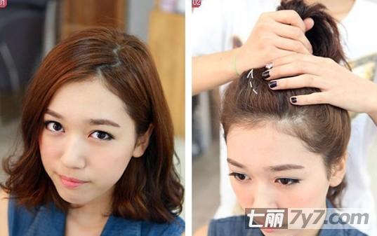 今年流行什么发型 短发丸子头扎法图解最清新