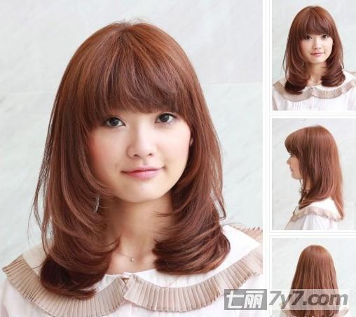 女生中短发烫发发型图片