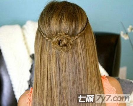 浪漫小花朵刘海编发 清新唯美可爱半扎发-diy发型