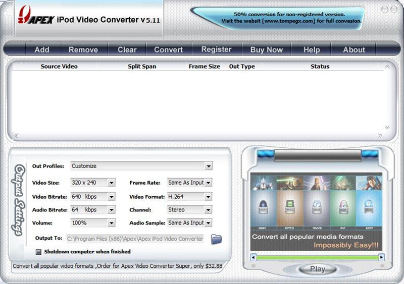 Apex iPod Video Converter下载